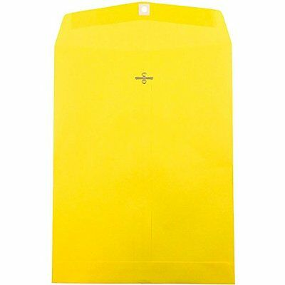 """JAM Paper 10"""" x 13"""" Open End Catalog Envelope with Clasp Closure - Yellow - 1..."""