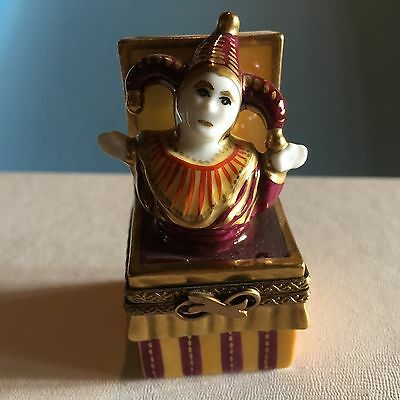 Puy De Dome Clown Jack In The Box In Gold Trinket Box Limoges France