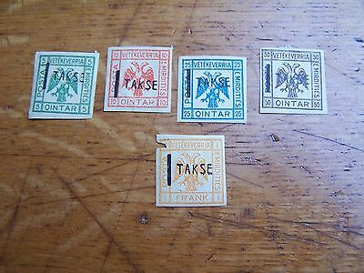 lot 5 timbres taxe albanie emerdities vetekeverria old stample albania takse