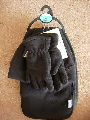 M & S Kids - Hat, Scarf & Gloves Set - 3-6 Yrs - Black - New - Rrp £14.00