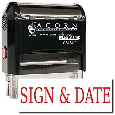MaxStamp - Large Self-Inking Sign & Date Stamp (Black Ink)