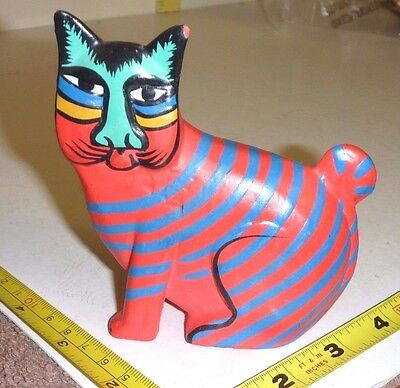 Wood CAT FIGURINE Hand-Carved/Painted Red Purple Stripes-Blue Face - Folk Art