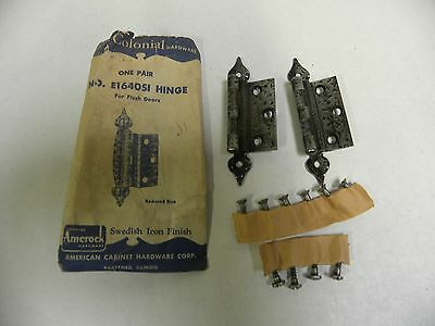 Pr NOS Amerock Colonial For Flush Cabinet Door Hinge Swedish Iron E1640SI (A2)