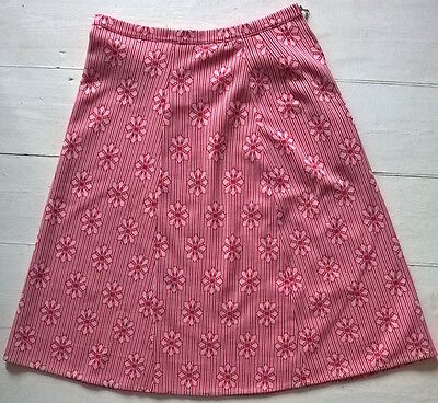 Vintage 60s 70s Pattern Skirt A-Line Retro Red White Zip 10-12