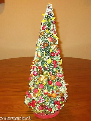 "19"" Vintage BOTTLE BRUSH GREEN CHRISTMAS TREE Fruit Mercury Glass Beads Flocked"