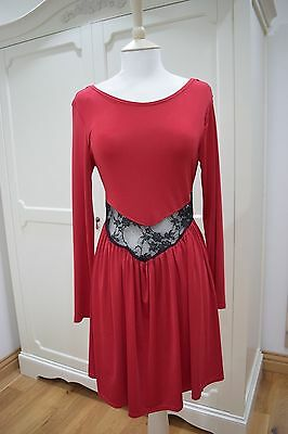 Rare London Red Party Dress with Black Lace Insert Size 10