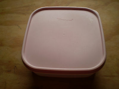 Tupperware Clear Storage Container Modular Mates #1 Square PINK Seal
