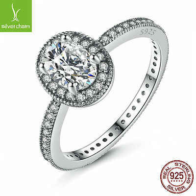 New Arrival Real 925 Solid Silver Vintage Elegance & Clear CZ Vintage Ring Women