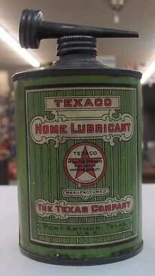 Vintage Green Round TEXACO Home Lubricant Oil Can The Texas Company NICE! 1/16 G