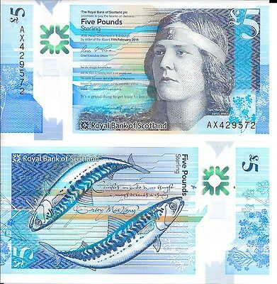 New Uncirculated Royal Bank Of Scotland £5 Pound Note AX429572