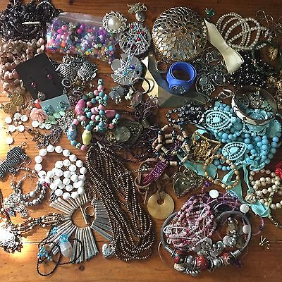 Bulk Jewellery Lot, Some Wearable, Broken And  Unusual Beads And Bits (1)