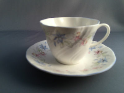 Queens Claire Tea Cup and Saucer (Blue Edge)