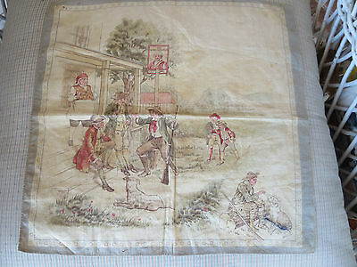 Antique Lithograph on Cloth The King George Inn Hotel Children Dogs Men 12 1/2""