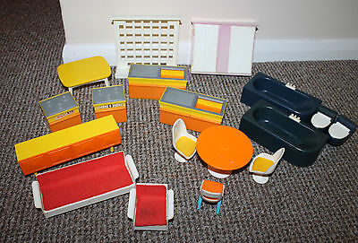 Vintage 1970s Plastic Doll's House Retro Furniture 1/12 Scale ~ Fisher Price?