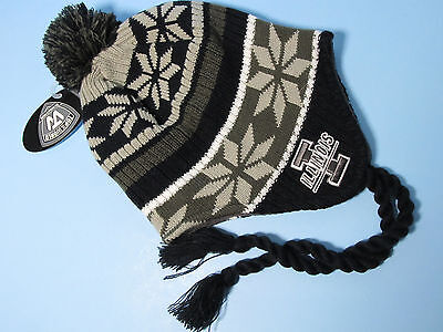 Illinois Illini Logo Winter Hats Knit Earlap Pull On Pom Hat Beanie One Size NWT