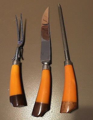 3 Pc Bakelite Carving Set Utensils Cutlery Royal Brand Butterscotch Brown EUC