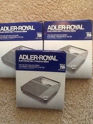 3 Adler-Royal Black Correctable Typewriter Ribbons