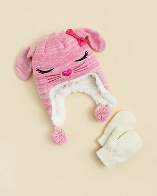 CAPELLI OF NEW YORK $22 NEW 1223 Pink Knit Hat & Gloves 2Pc Set Girls Kids 2T-4T