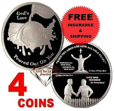 ** NEW **1oz CHRISTIAN BULLION .999 SILVER GOD'S LOVE ROUND in HARD PLASTIC (4)