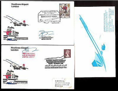 '80s CONCORDE COURIER R.WHITCHURCH-BENNETT SIGNED COVERS~EDINBURGH-PARIS/MIDLAND