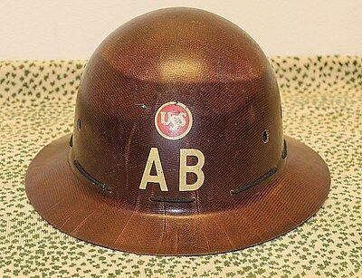 US Steel American Bridge Company AB Hard Hat MSA Vintage Antique Rare Full Brim
