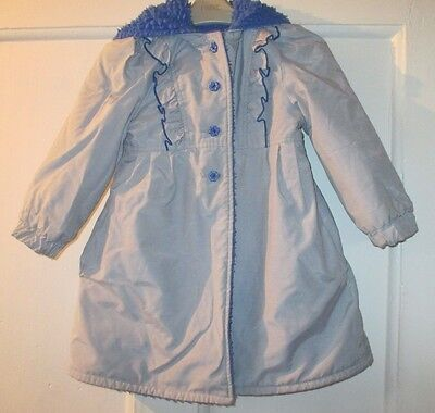 Girls BHS  pretty vintage grey and blue coat  lined hooded   Age  4 YRS