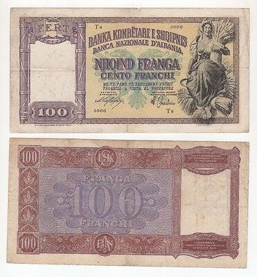 A44 Albania 100 Franga 1940 ND P-8 Banknote lot/2 Paper Money Currency Antique