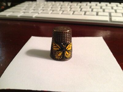 Vintage Metal Thimble Yellow and Black Butterfly Raised Flowers