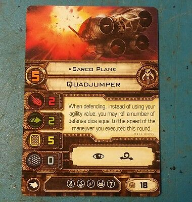 Star Wars X-Wing Miniatures Game Sarco Plank card