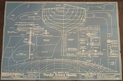 "1920's Popular Science Magazine Blue Print 1 of 2 - Racing Yacht Model 42"" Hull"