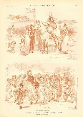 Valentine's Day In The Olden Time, Vintage 1893 English Antique Art Print