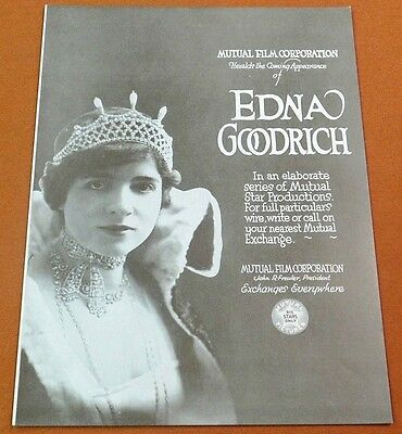EDNA GOODRICH Vintage 1917 MUTUAL FILM Silent Movie TRADE AD William Russell