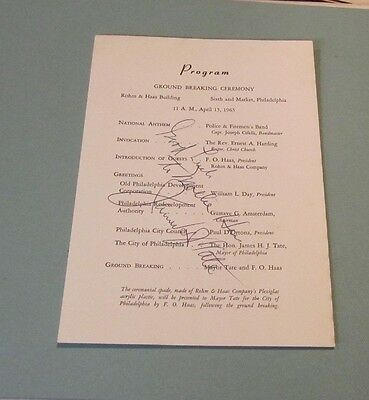 1963 Philadelphia Mayor James Tate Autograph Ground Breaking Ceremony Program