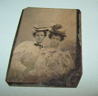 Antique Victorian Women Sisters Posing in Fancy Hats and Clothing Tintype Photo