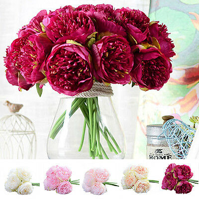 Artificial Fake Peony Silk Flower Bridal Hydrangea For wedding Bouquet Decor Hot