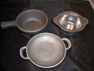 3 Bon Chef Augusta NJ Aluminum Dishes: Mixed Lot, Small GUC