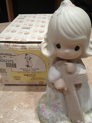 """Precious Moments """"i Believe In The Old Rugged Cross"""" 103632 W/box 1985 Sail Boat"""
