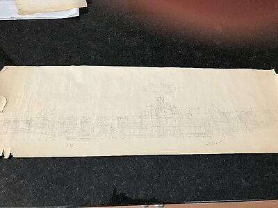 WW2 US Navy Submarine USS Cuttlefish Original scale sketch drawings plans