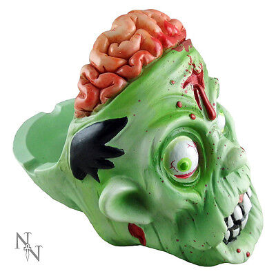Gruesome ZOMBIE HEAD ASHTRAY - Green With Gory Brains Detail - Gothic Gift NEW