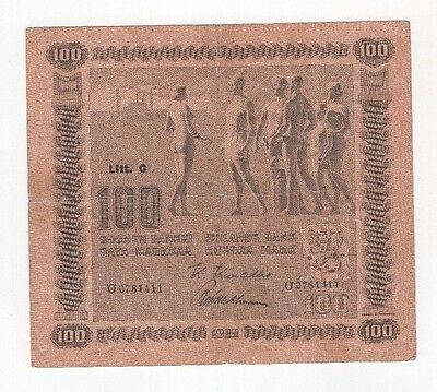 F11 Finland 100 Markkaa 1922 P-65a Litt. C Banknote Paper Money Currency Antique
