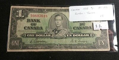 Canada 1937 One Dollar Bill George VI Nice Old Banknote (Gordon-Towers)