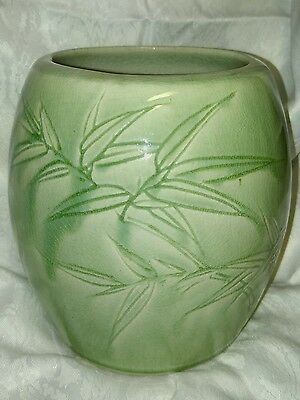 Bamboo & Old Chinese Celadon 甲骨文 Oracle Bone Script Engraved on Green Glazed Pot