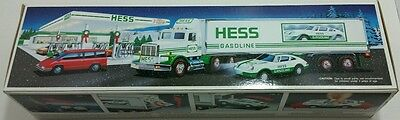 New1992 Hess Toy Truck 18 Wheeler and Racer New In Box Gas Collectible Christmas