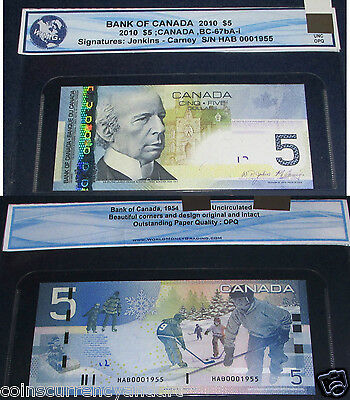 0001955 LOW SERIAL number AND BIRTH YEAR  $5 Bank Of Canada 2010  BANKNOTE