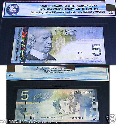 "0987890 LADDER and  ""RaDaR"" 2010 $5 Bank Of Canada BANKNOTE"