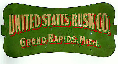 United States Rusk Co. Grand Rapids, Michigan Tin Sign 1907