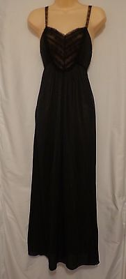VTG Black Nylon Night Gown Size SMALL Lace Straps & Accents Ankle Length Slip