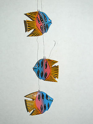 3 pcs NUTICAL Wooden Fish Wall Hanging Christmas Tree Ornaments/ Home Decor