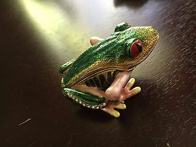 Painted enamel with crystals frog trinket/pill box