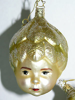Vintage 2 West Germany Head Face Christmas Glass Ornaments With Gold Glitter